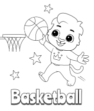 Printable Basketball-1 Coloring Pages