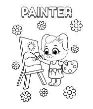 Printable Painter Coloring Pages