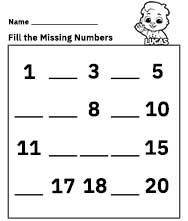 Free Printable Worksheets for Kids - Missing Number Worksheets 1-20