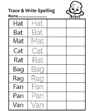 Free Printable Worksheets for Kids - Trace and Write Spelling Words Worksheets