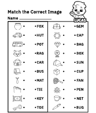 Spelling Worksheets | Match Words to Picture Worksheets