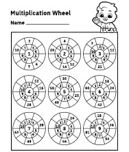 Free Printable Worksheets for Kids - Multiplication Wheel Worksheet