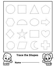 Free Printable Worksheets for Kids - Trace the Shapes Worksheet