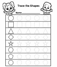 Free Printable Worksheets for Kids - Dotted Shapes to Trace Worksheet
