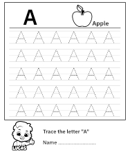 Free Printable Worksheet for Kids - Trace uppercase letter A