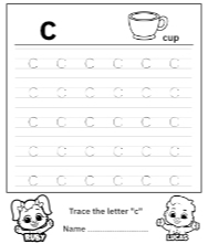 Trace Lowercase Letter 'c' Worksheet for FREE!