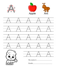 Uppercase Letter A Tracing Worksheets
