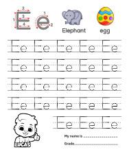 Trace Alphabet Letter Ee Worksheets