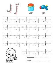 Trace Alphabet Letter Jj Worksheets