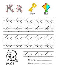 Trace Alphabet Letter Kk Worksheets