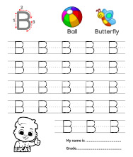 Uppercase Letter B Tracing Worksheets