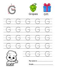 Uppercase Letter G Tracing Worksheets