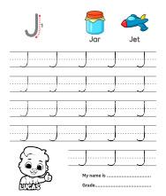 Uppercase Letter J Tracing Worksheets