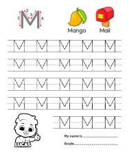 Uppercase Letter M Tracing Worksheets