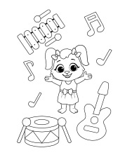 Music instruments coloring pages for kids | Free printables