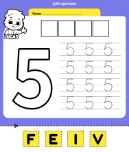 Number 5 Cut and Past Worksheet