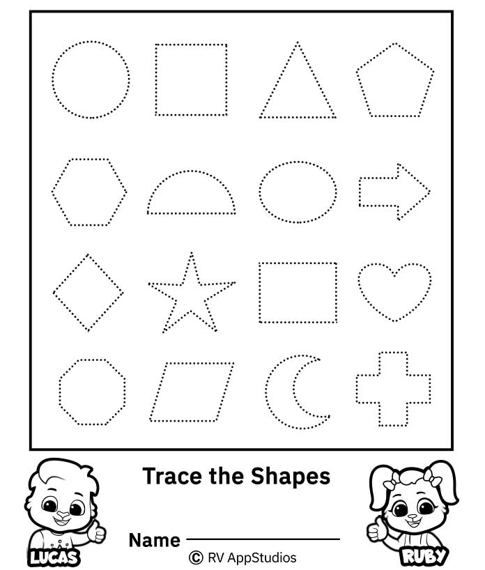 Free Printable Worksheets for Kids - Colors and shapes