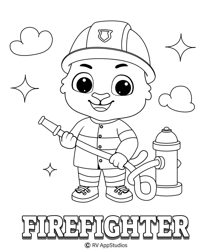 Printable Fire Fighter-1 Coloring Pages