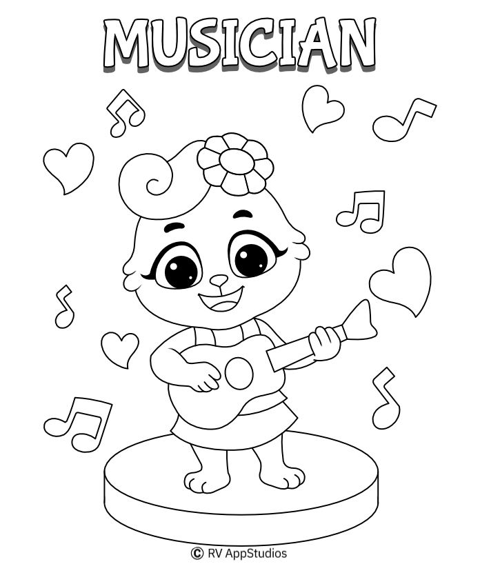 Musician Coloring Page | Music Coloring Pages