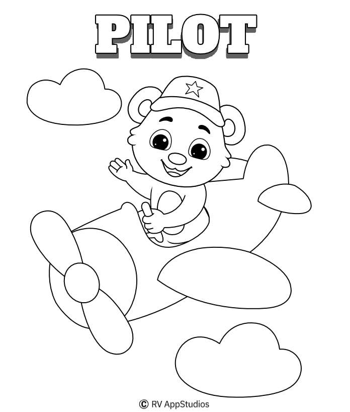 Pilot Coloring Pages | Free Profession Printable