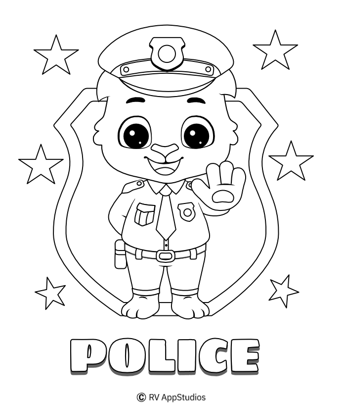 - Police Coloring Pages For Kids