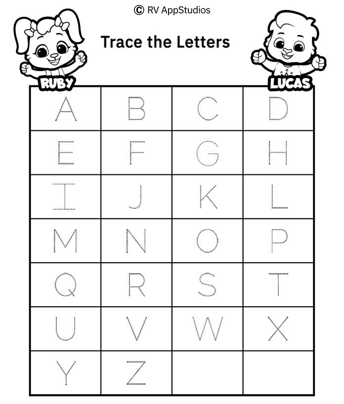 Free Printable Worksheets for Kids - Capital Letters Alphabet Tracing