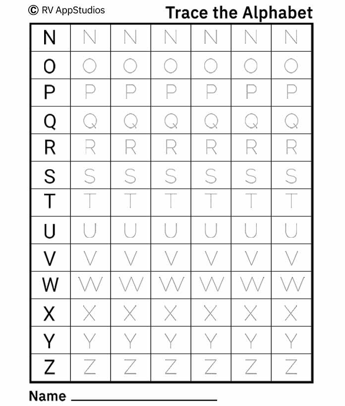 Free Printable Worksheets for Kids - Practice Alphabet Tracing Capital Letters – 2