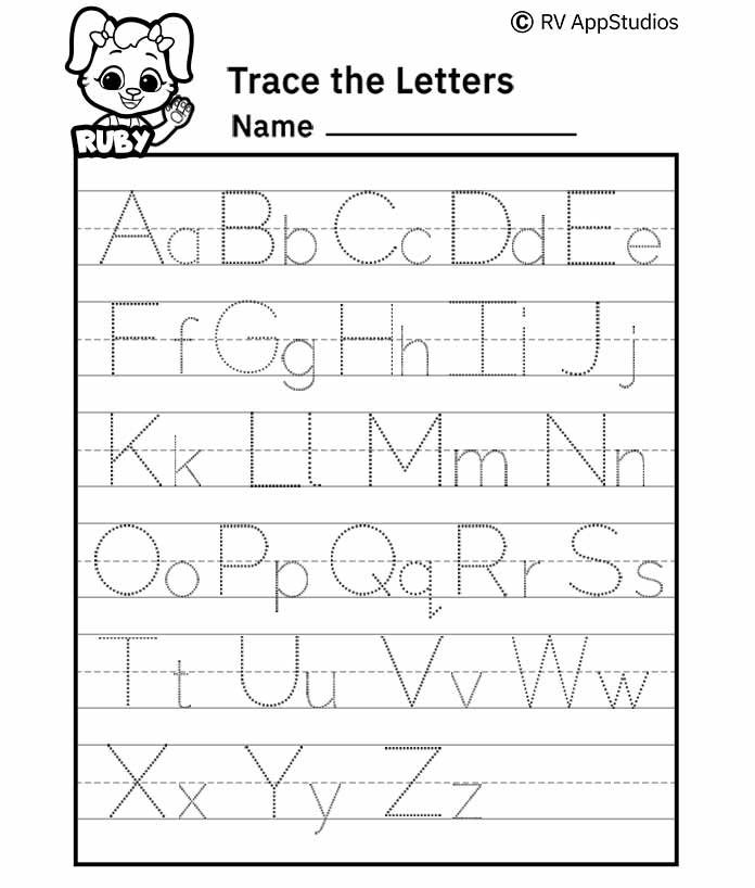 A-Z Alphabet Letter Tracing Worksheet - Alphabets Capital Letters Tracing