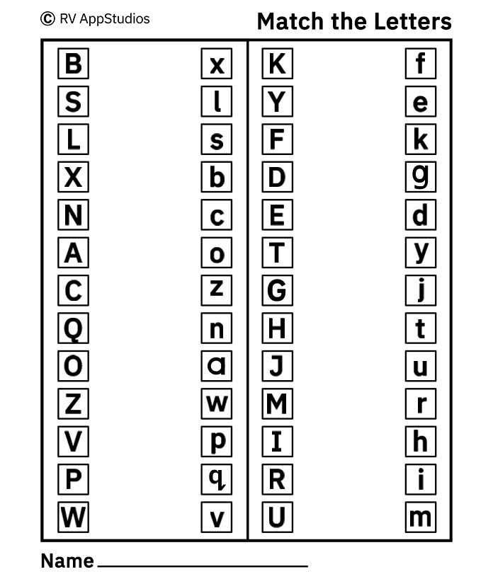 Alphabet Match Letters Worksheet - Free Printable Worksheets For Kids