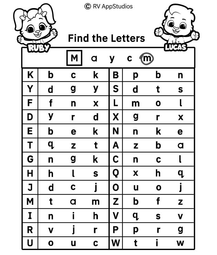 Find the Letters Worksheets |  FREE Alphabet Printables