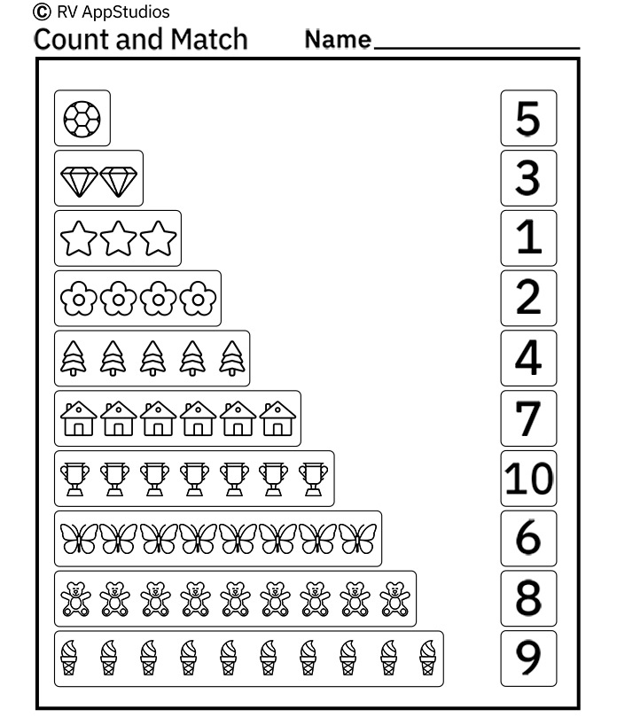Free Printable Worksheets for Kids - Count and Match Worksheets