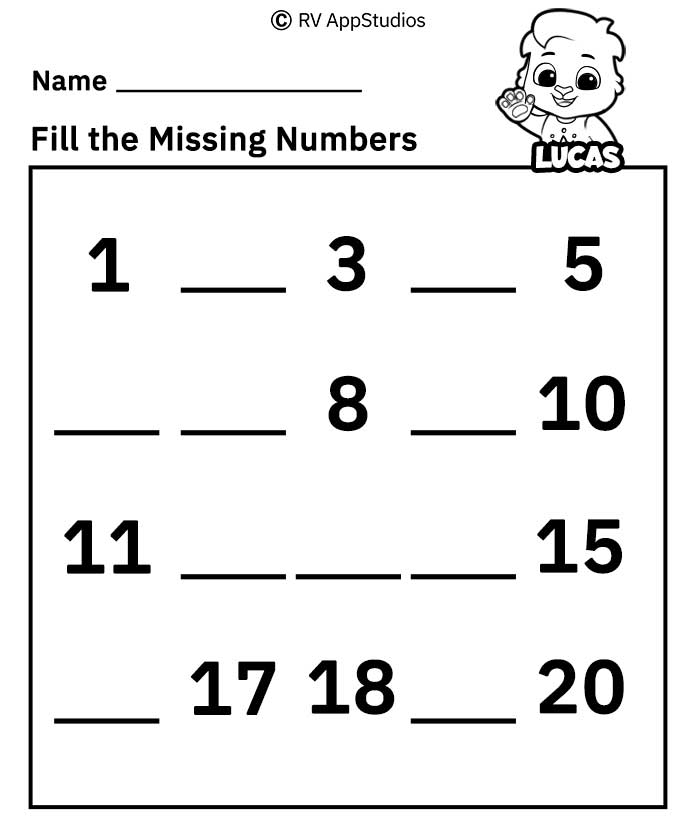 Free Printable Worksheets for Kids - Missing Number Worksheets 1-20