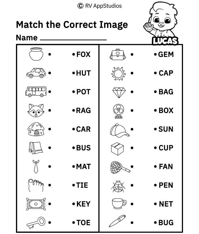 Free Printable Worksheets for Kids - Match Words to Picture Worksheets