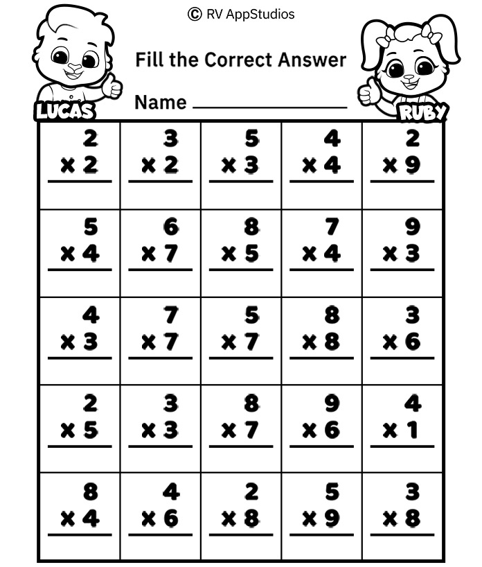 Free Printable Worksheets for Kids - Multiplication Practice Worksheet
