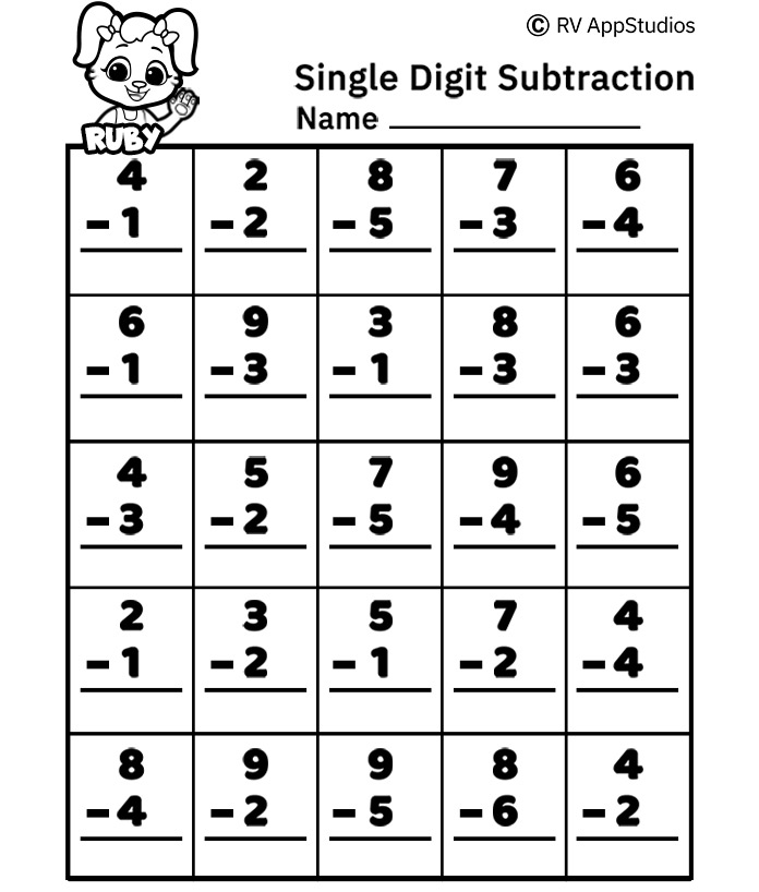 Free Printable Worksheets for Kids - Single Digit Subtraction Worksheets