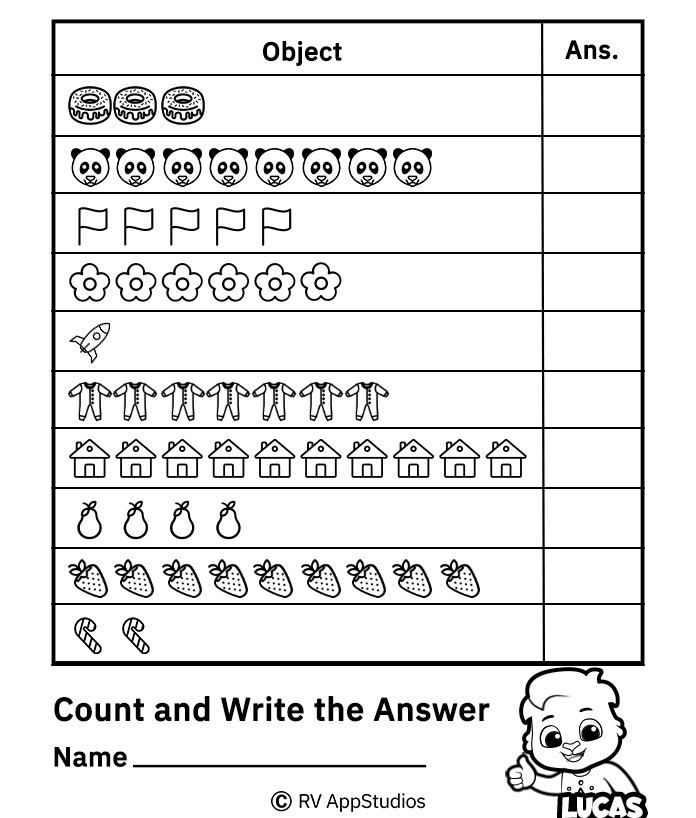 Free Printable Worksheets for Kids - Count and Write Numbers