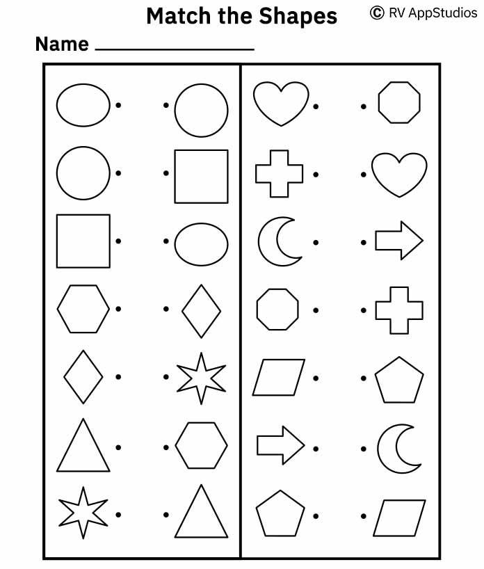 Shapes Matching Worksheets | Preschool Shapes Worksheets