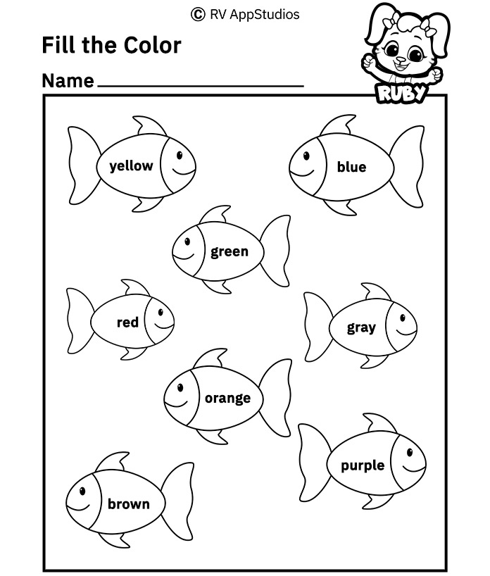 Free Printable Worksheets for Kids - Fill the Colour in Pictures Worksheets