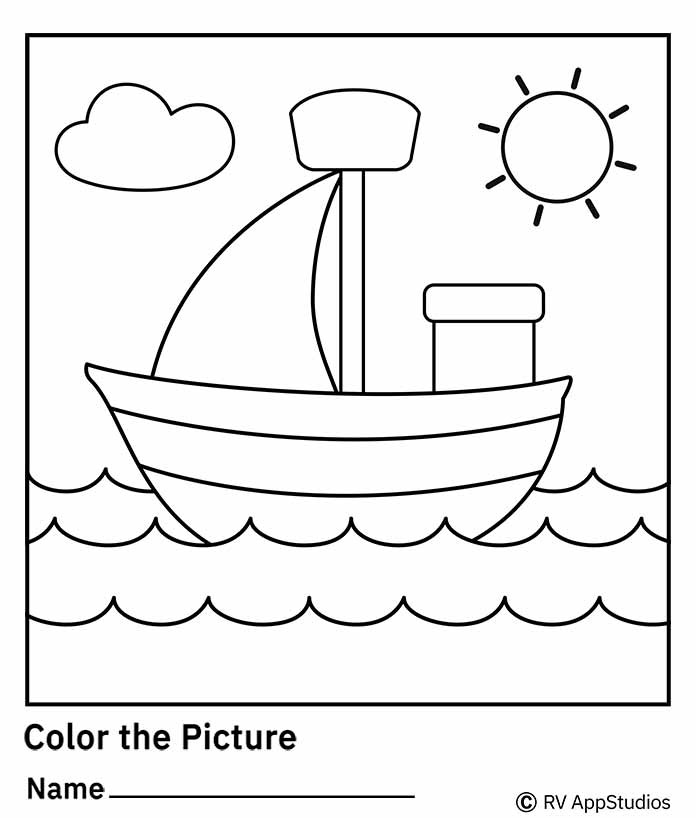 Free Printable Worksheets for Kids - Color the Picture Worksheet