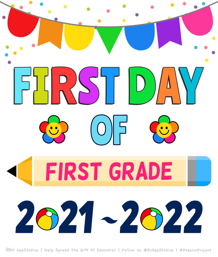 'First Day of School of First-Grade' Printables for the Year 2020-2021.