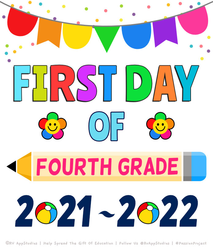 'First day of Fourth Grade' Printables for the Year 2020.