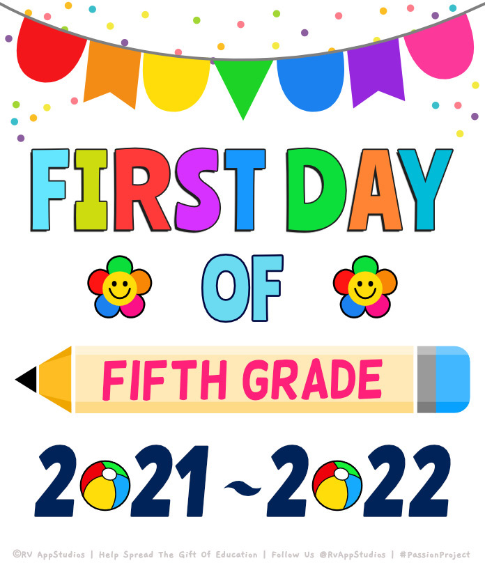 'First day of fifth-grade' Printables for the Year 2020.