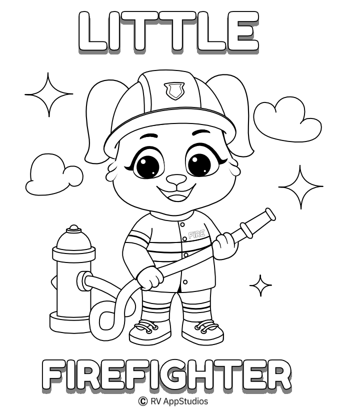 Printable Fire Fighter Coloring Pages