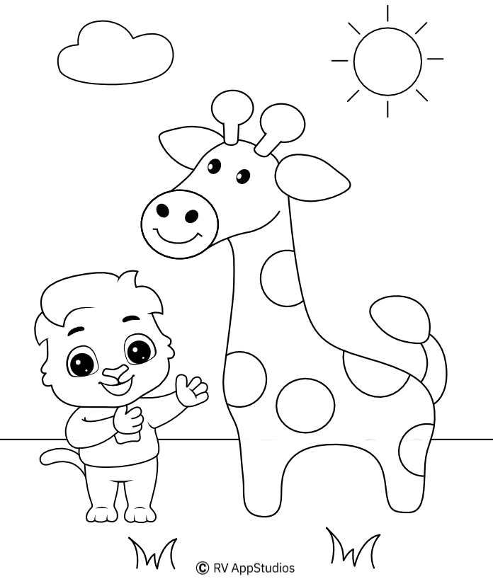 Giraffe Coloring Pages For Kids Printable Giraffe Coloring Pages