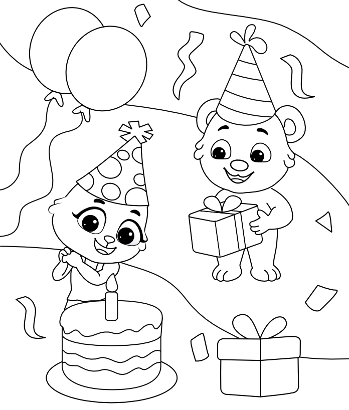 Free Printable Birthday Celebration Coloring Pages