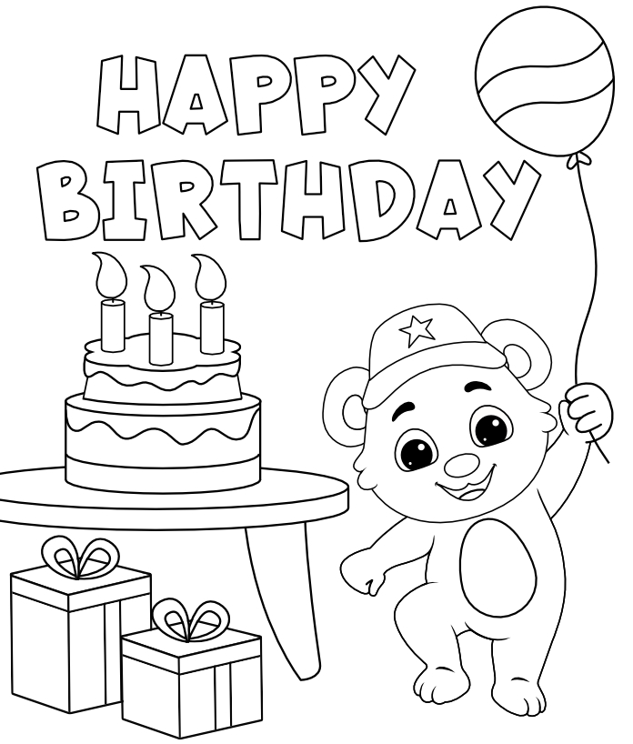Celebrate Birthday Coloring Pages for Kids