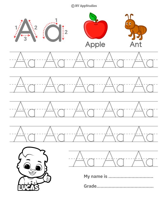 Trace Alphabet Letter Aa Worksheets