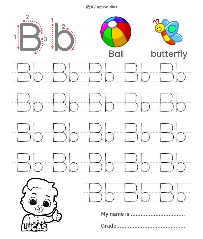 Trace Alphabet Letter Bb Worksheets