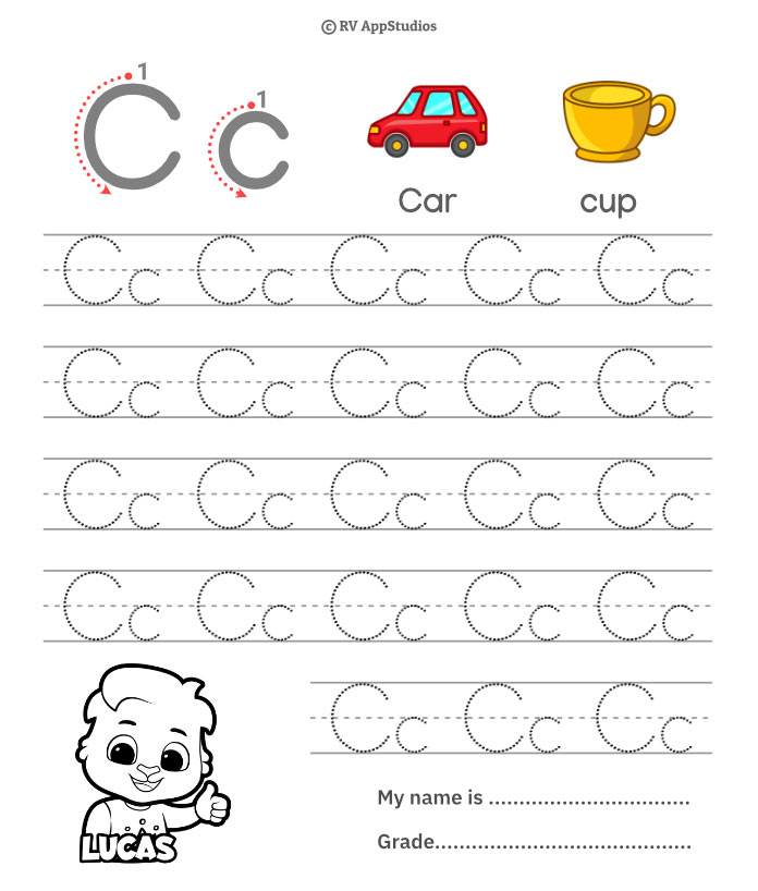 Trace Alphabet Letter Cc Worksheets