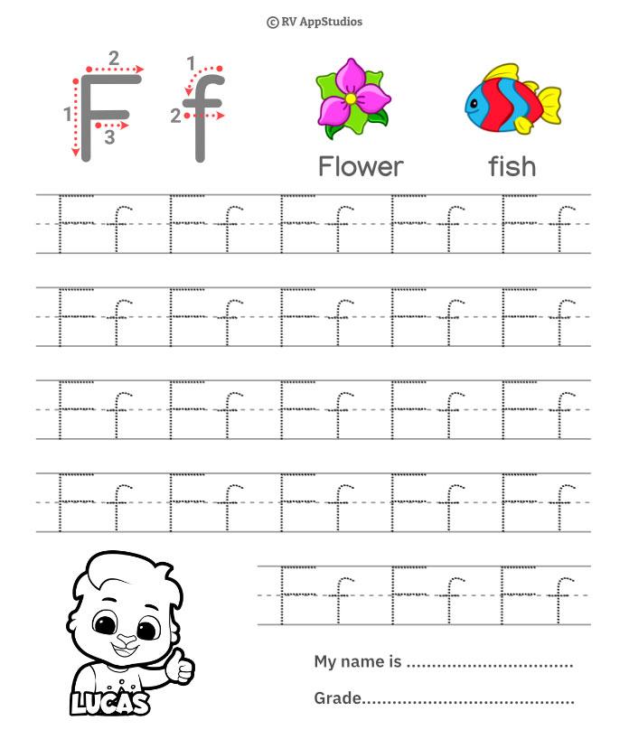 Trace Alphabet Letter Ff Worksheets